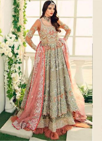 Wedding Wear Pista Green Heavy Embroidery Work Butterfly Net Pakistani Suit