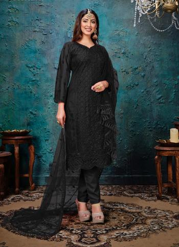 Festival Wear Black Embroidery Work Net Churidar Suit