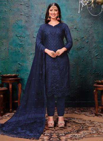 Festival Wear Navy Blue Embroidery Work Net Churidar Suit