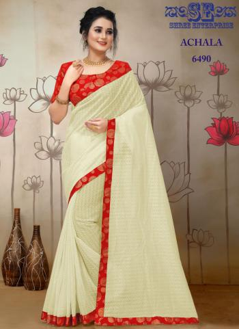 Party Wear Cream Lace Border Work Jacquard Saree