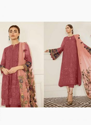Festival Wear Dark Pink Embroidery Work Georgette Pakistani Suit