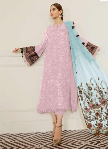 Festival Wear Light Pink Embroidery Work Georgette Pakistani Suit
