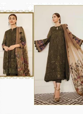 Festival Wear Olive Green Embroidery Work Georgette Pakistani Suit