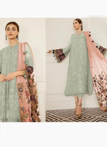 Festival Wear Pista Green Embroidery Work Georgette Pakistani Suit