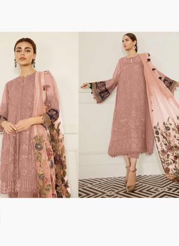 Festival Wear Rose Pink Embroidery Work Georgette Pakistani Suit