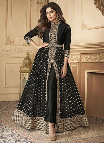Wedding Wear Black Sequins Work Real Georgette Anarkali Suit