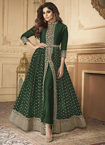 Wedding Wear Green Sequins Work Real Georgette Anarkali Suit