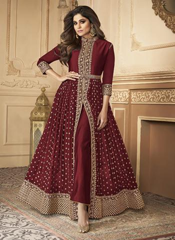 Wedding Wear Maroon Sequins Work Real Georgette Anarkali Suit