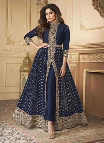 Wedding Wear Navy Blue Sequins Work Real Georgette Anarkali Suit