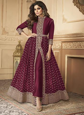Wedding Wear Wine Sequins Work Real Georgette Anarkali Suit