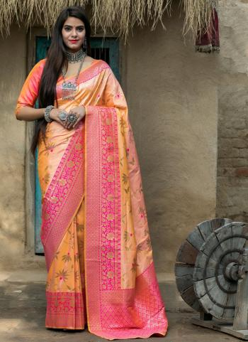 Festival Wear Peach Weaving Silk Saree