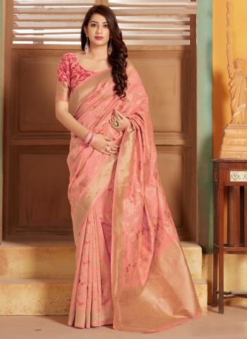Party Wear Peach Weaving Silk Saree