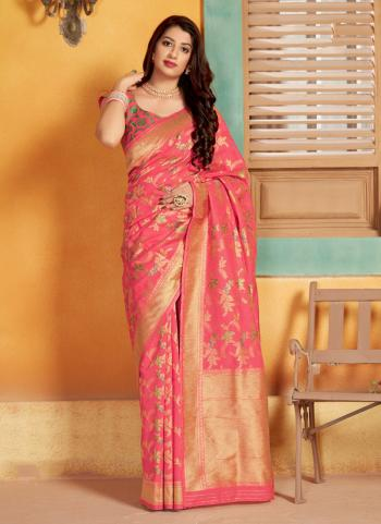 Party Wear Pink Weaving Silk Saree