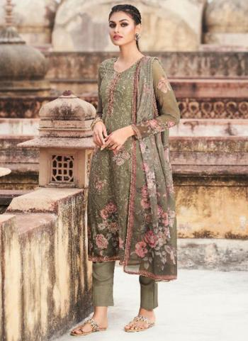 Casual Wear Green Digital Printed Georgette Straight Suit