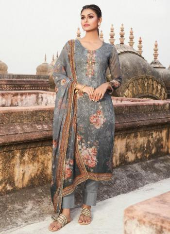 Casual Wear Grey Digital Printed Georgette Straight Suit