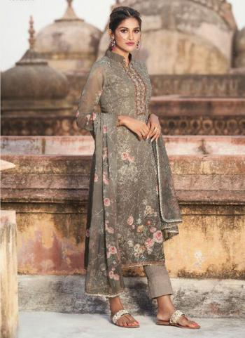 Casual Wear Light Grey Digital Printed Georgette Straight Suit