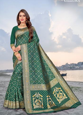 Party Wear Green Weaving Banarasi Silk Saree
