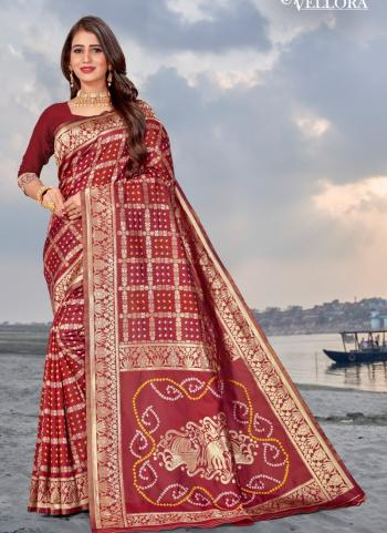 Party Wear Maroon Weaving Banarasi Silk Saree