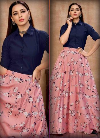Party Wear Pink Printed Work Silk Top With Skirt