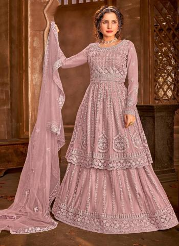 Reception Wear Pink Heavy Embroidery Work Net Anarkali Suit
