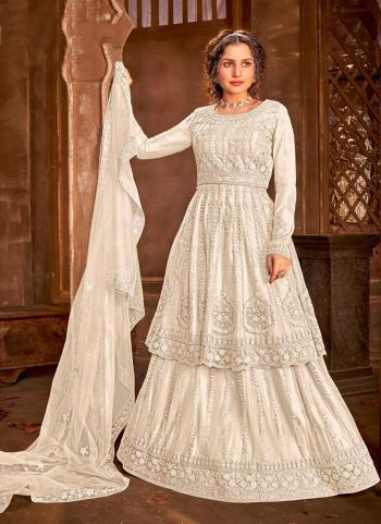 Reception Wear White Heavy Embroidery Work Net Anarkali Suit