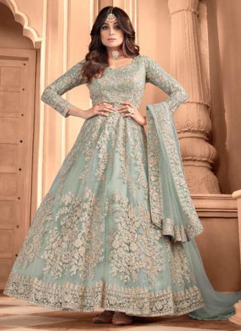 Reception Wear Teal Blue Heavy Embroidery Work Net Anarkali Suit