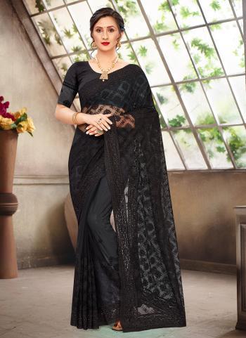 Reception Wear Black Stone Work Net Saree