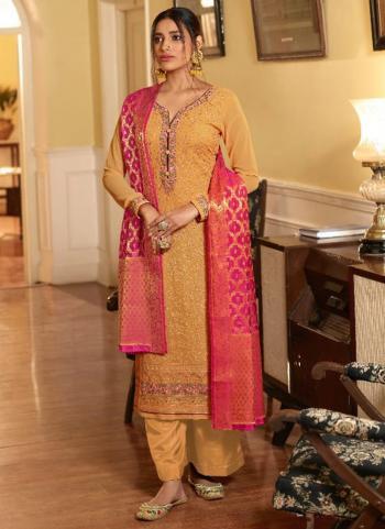 Festival Wear Yellow Swarovski Work Pure Georgette Palazzo Suit
