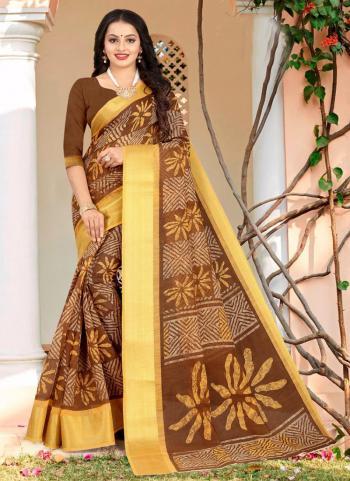 Daily Wear Brown Weaving Linen Cotton Saree