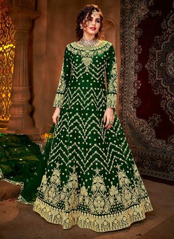 Reception Wear Green Heavy Embroidery Work Net Anarkali Suit