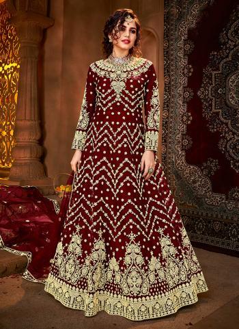 Reception Wear Maroon Heavy Embroidery Work Net Anarkali Suit