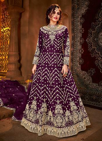 Reception Wear Purple Heavy Embroidery Work Net Anarkali Suit