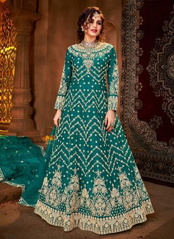Reception Wear Sky Blue Heavy Embroidery Work Net Anarkali Suit