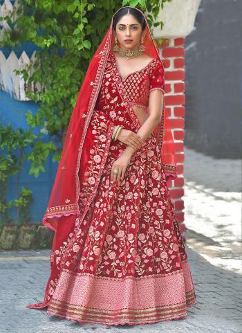 Bridal Wear Red Resham Work Velvet Lehenga Choli