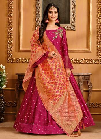 Party Wear Pink Butti Work Tapeta Silk Gown With Dupatta