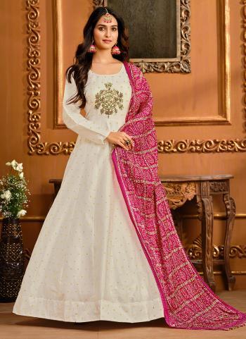 Party Wear White Butti Work Tapeta Silk Gown With Dupatta
