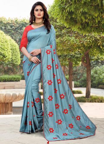 Traditional Wear Grey Embroidery Work Vichitra Silk Saree