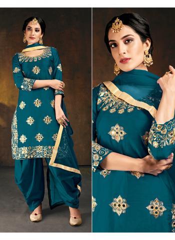 Wedding Wear Blue Mirror Work Soft Silk Patiyala Suit