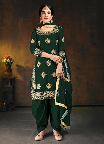 Wedding Wear Green Mirror Work Soft Silk Patiyala Suit