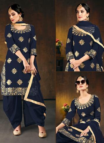 Wedding Wear Navy blue Mirror Work Soft Silk Patiyala Suit