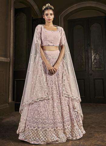 Bridal Wear Pink Embroidery Work Georgette Lehenga Choli