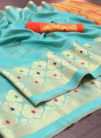 Wedding Wear Sky Blue Weaving Silk Saree