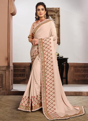 Reception Wear Beige Resham Work Silk georgette Saree