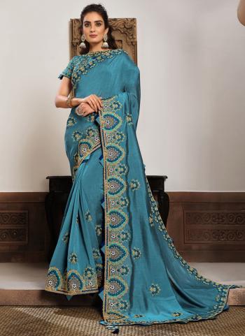 Reception Wear Firozi Resham Work Silk Georgette Saree