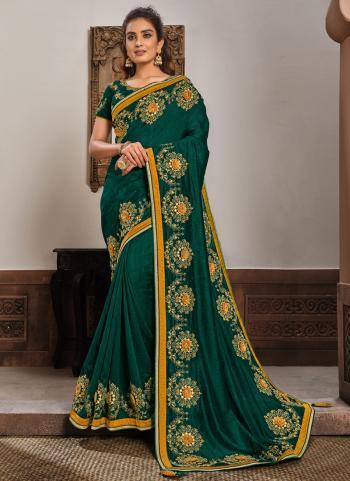 Reception Wear Green Resham Work Silk Georgette Saree