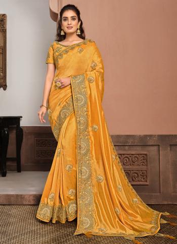 Reception Wear Musterd Resham Work Silk Georgette Saree