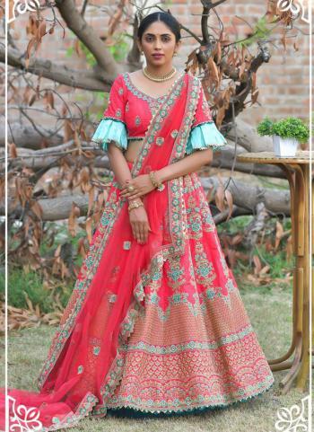 Wedding Wear Pink Resham Work Pashmina Silk Lehenga Choli