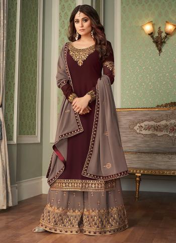 Wedding Wear Brown Embroidery Work Georgette Silk Sharara Suit