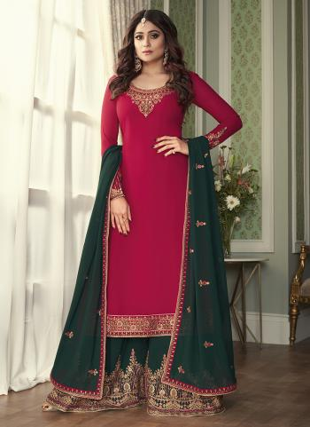 Wedding Wear Rani Embroidery Work Georgette Silk Sharara Suit