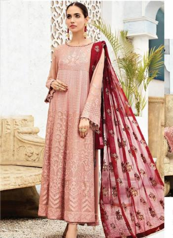 Party Wear Pink Embroidery Work Georgette Pakistani Suit